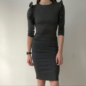 Zara Long Sleeve Gray Bodycon Dress Ruffle Sleeves